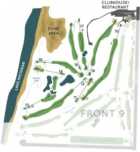 Back 9 overview at Manistee Golf and Country Club located on the Shores of Lake Michigan